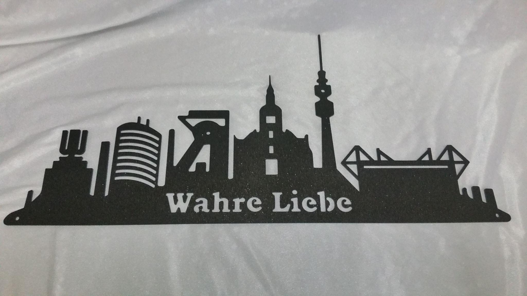 Skyline Dortmund Aus Stahl Laserzuschnitt Mit Text Wahre Liebe Laserzuschnitte Skyline Dortmund Edelrost