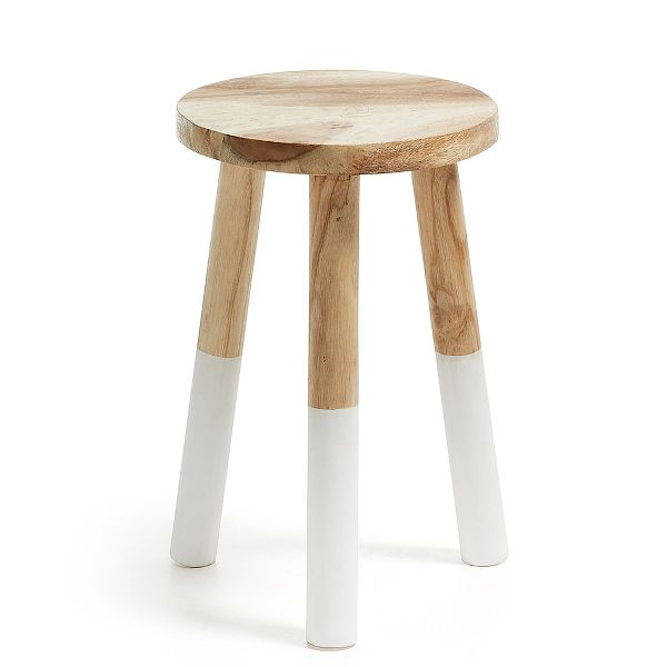 Round Stool In Solid Munggur Wood With White Painted Legs