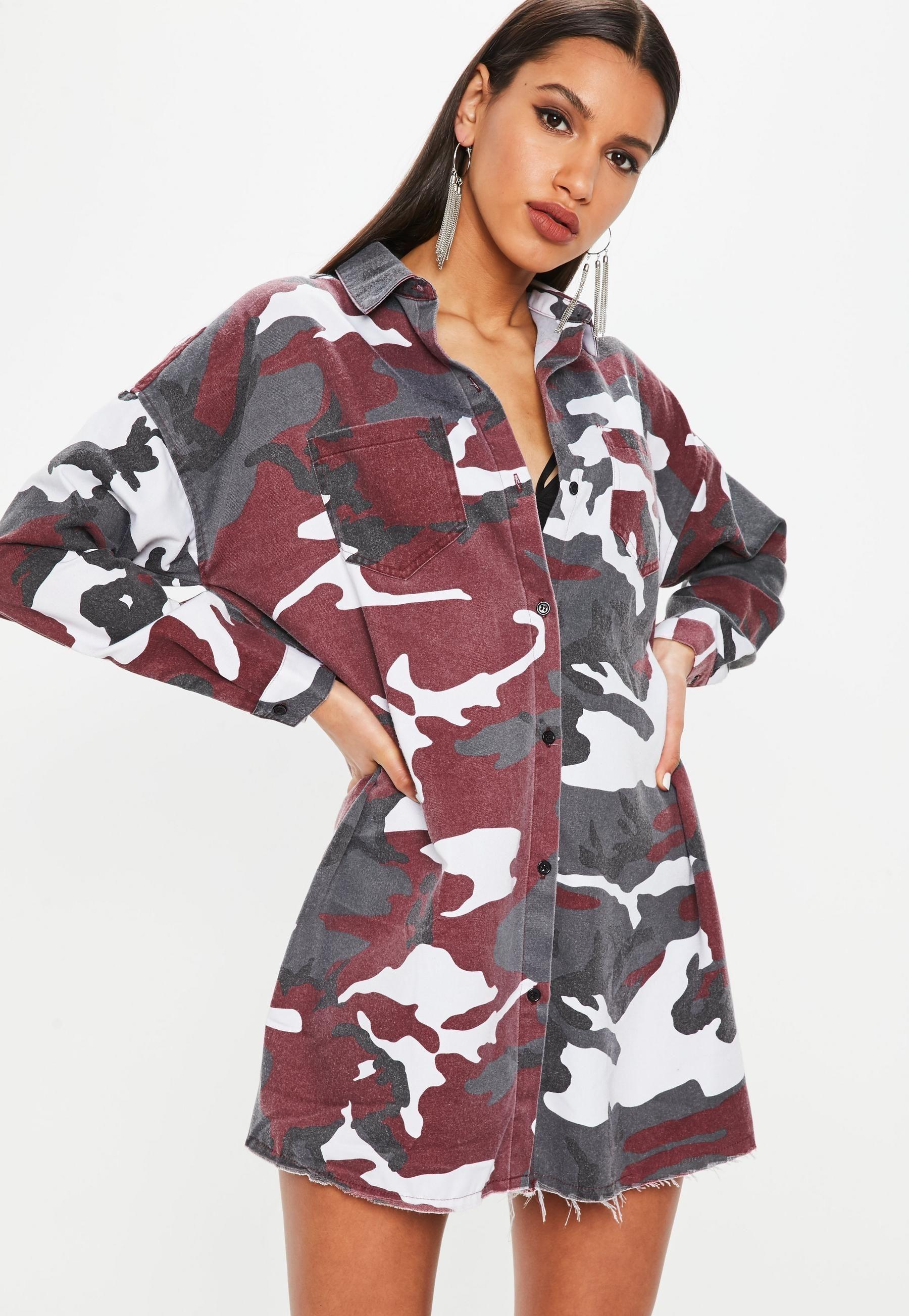 Multi Camo Long Sleeve Shirt Dress MISSGUIDED Pinterest Long