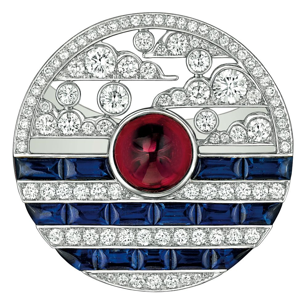 """#Chanel - """"Biennale 2014"""" creation from """"Café Society"""" collection - """"Winter in France"""" #ring in 18-karat #whitegold set with a 5-carat #emeraldcut - #diamond, 20 calibrated #sapphires for a total weight of 2.5 carats and 126 brilliant-cut #diamonds for a total weight of 2.4 carats"""