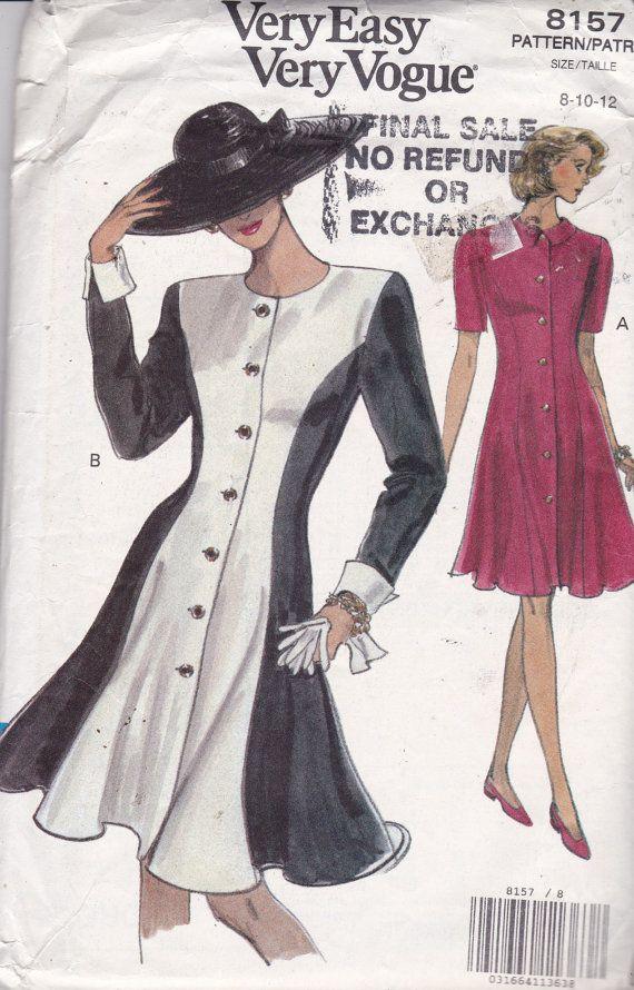 Vogue 8157 Vintage Pattern Womens Trumpet Dress in 2 Variations Size ...