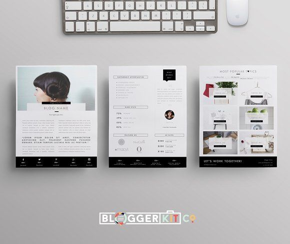 Blog Media Kit Template 3 Pages by Blogger Kit Co on - 3 resume formats
