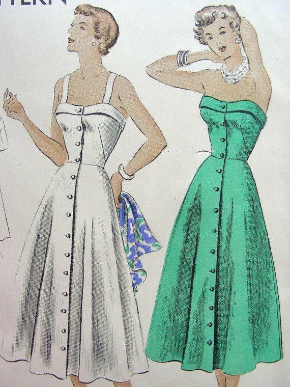 Vintage 50\'s VOGUE Sewing Pattern 6710 - Lovely STRAPLESS Sundress ...