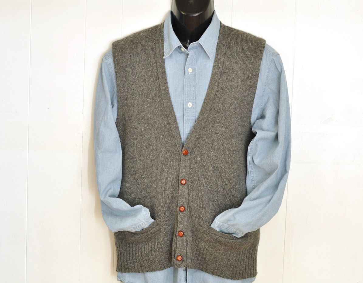 Mens Wool Sweater Vest W/ Pockets Gray 1970's Button Up Knit Vest ...