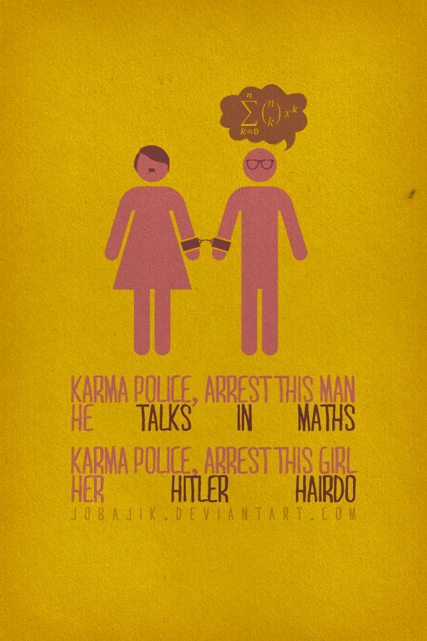 Lyric f the police lyrics : An illustration+lyric poster based on song Karma Police by ...