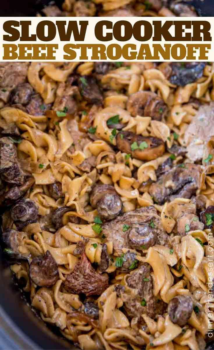 Slow Cooker Beef Stroganoff {EASY} - Dinner then D