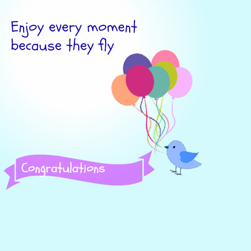 Baby Shower Message Greeting Card  Enjoy Every Moment Because