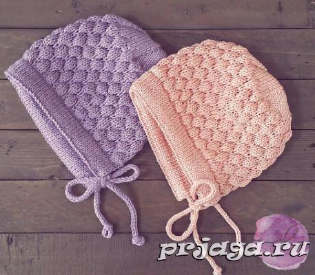 шапочка чепчик спицами для малышаописание и видео вязание