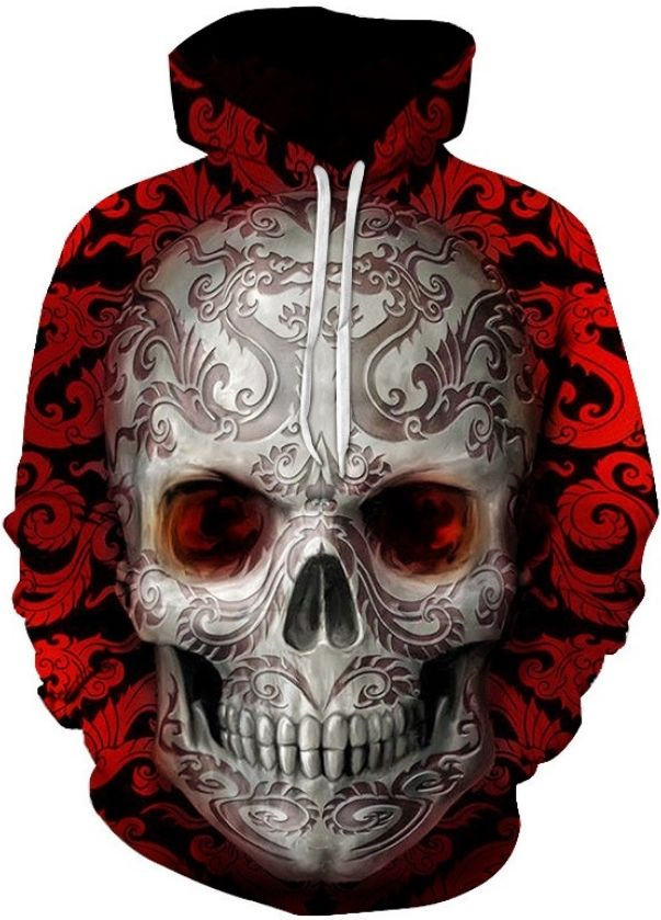 58c857aec065 RUBY SKULL TATTOO - 3D STREET WEAR HOODIE Design   Ruby Skull Tattoo Style    Street Wear Collar   Hoodie Sleeve   Long Color   Red Size   S