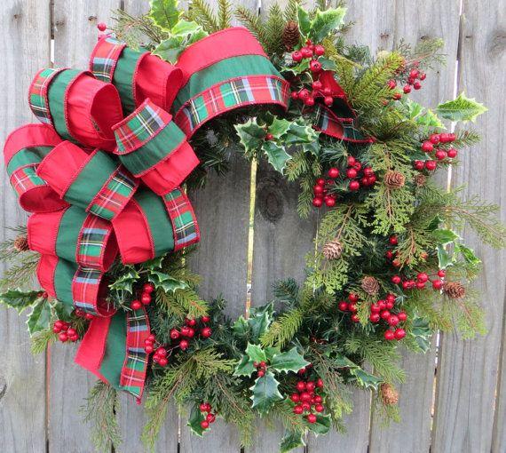 Wreath, Plaid Christmas Wreath, Natural Elegance Christmas Wreath - christmas wreath decorations