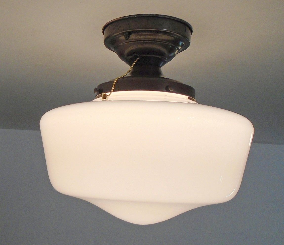 Vintage large schoolhouse ceiling light with semi flush mount and vintage large schoolhouse ceiling light with semi flush mount and pull chain switch arubaitofo Gallery