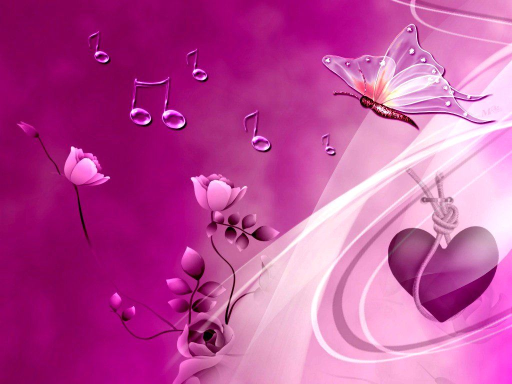 Butterflies Wallpaper Pink Heart And Butterflies Wallpapers Hd