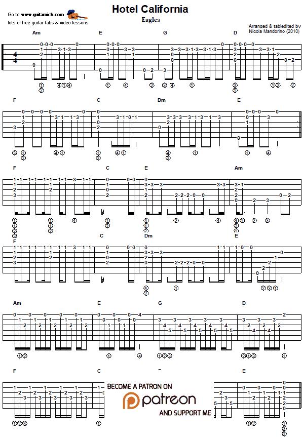 Hotel California Guitar Chords For Songs Guitar Sheet Music
