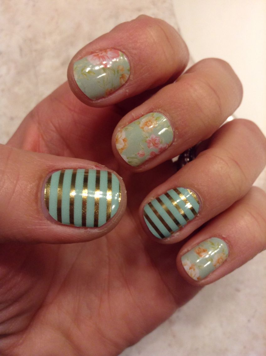 vintage chic and mint greengold horizontal stripe
