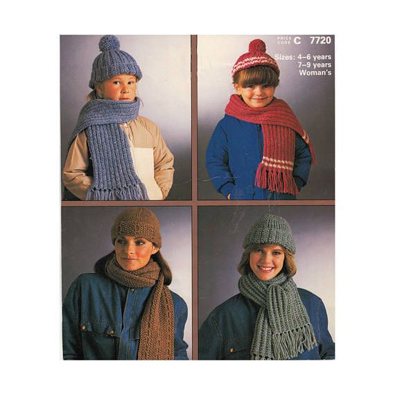 6523fc1c941 Hats and Scarves Shetland Chunky Knitting Patterns Patons Beehive 7720  Ribbed Hat and Scarf