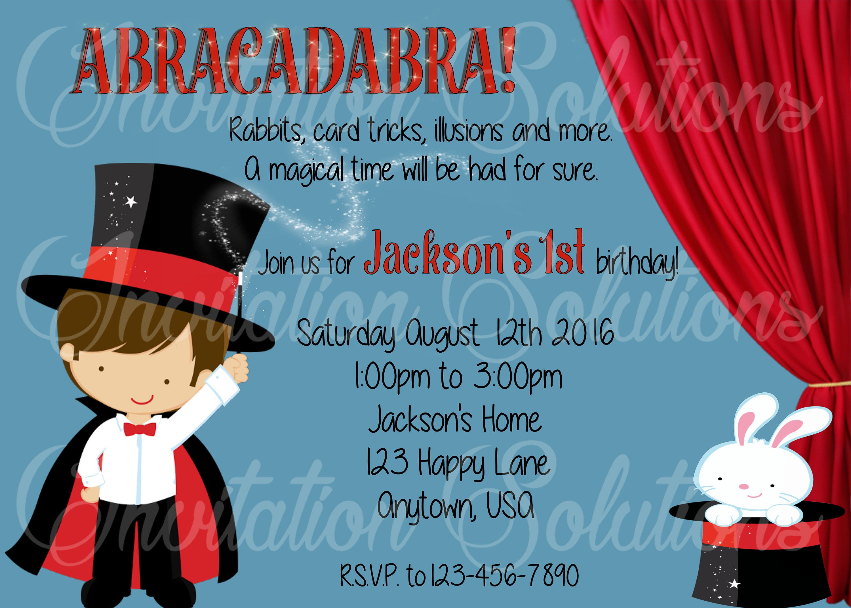 Magic Shower Birthday Party Invite/ Magic Themed Party Invitation ...