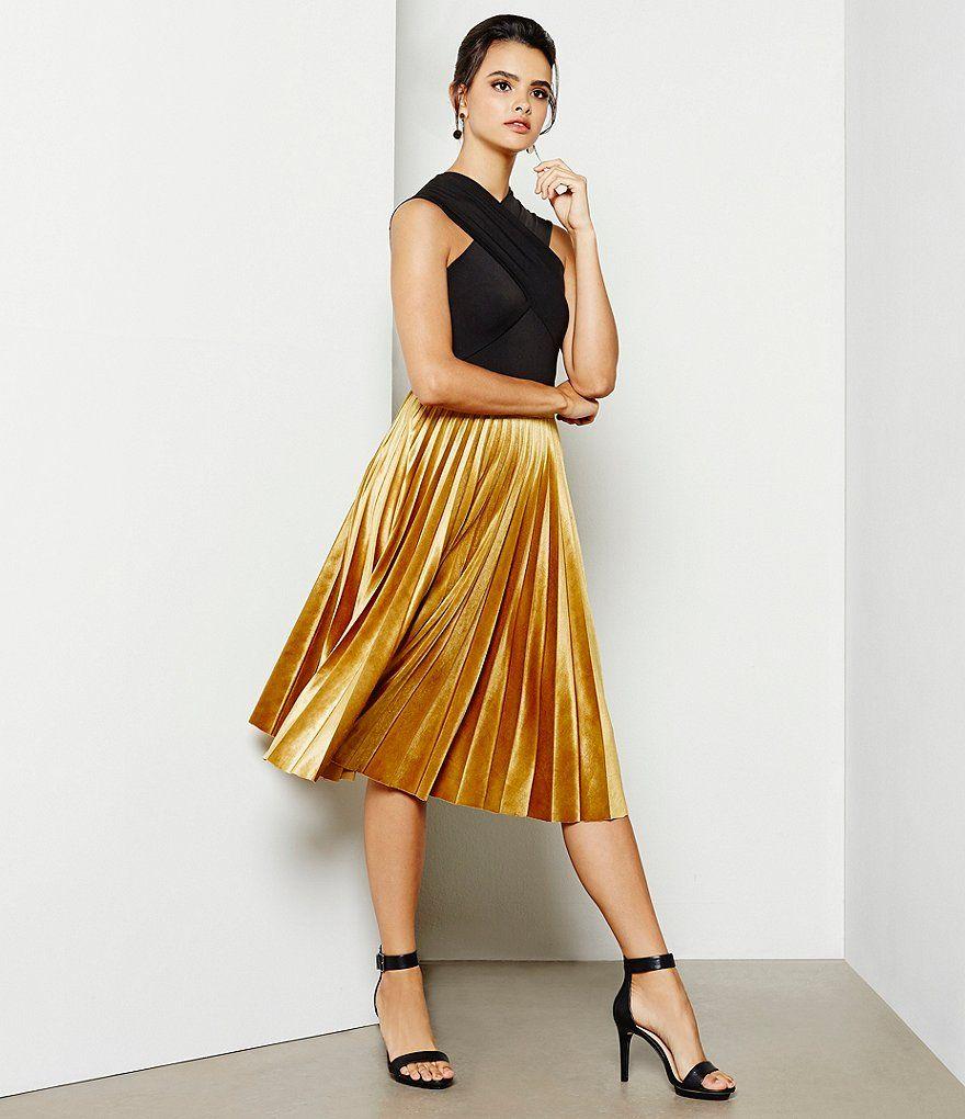 b106c91882e Gianni Bini Jaclyn Pleated Velvet Midi Skirt
