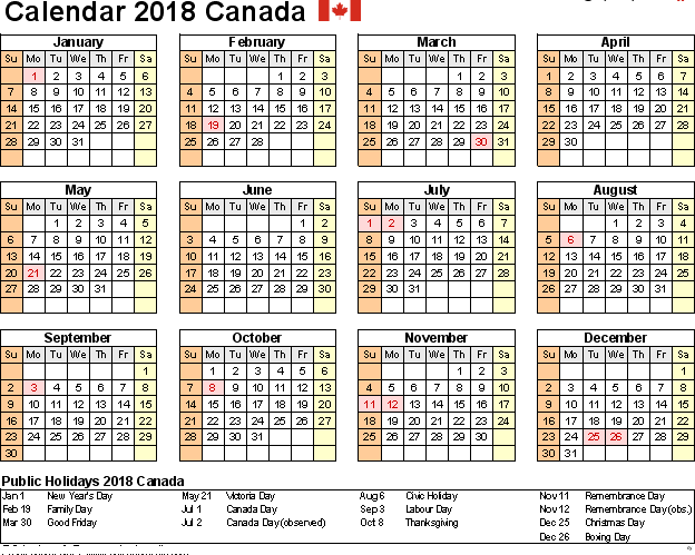 Canada 2018 Printable Calendar With Holidays 2018 Calendars