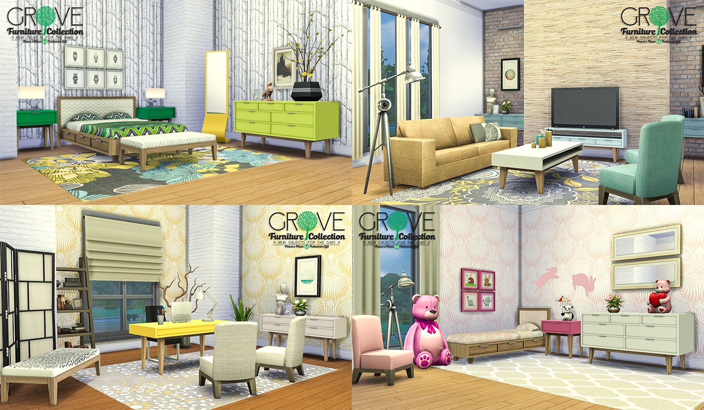 My sims 4 blog grove furniture collection 9 new objects by peacemaker ic