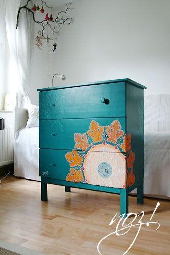 Hacked Ikea Tarva dresser Aqua teal turquoise Home decor design ...