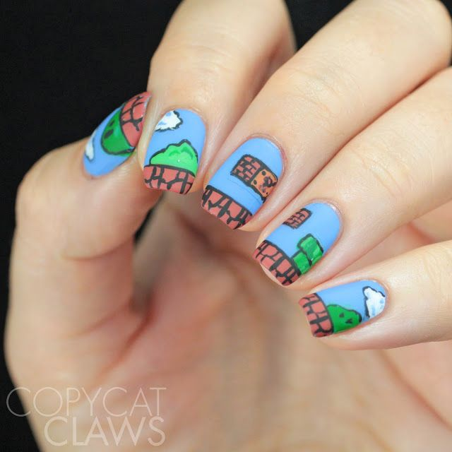 Copycat Claws Blue Color Block Nail Art: Super Mario Bros Nail Art