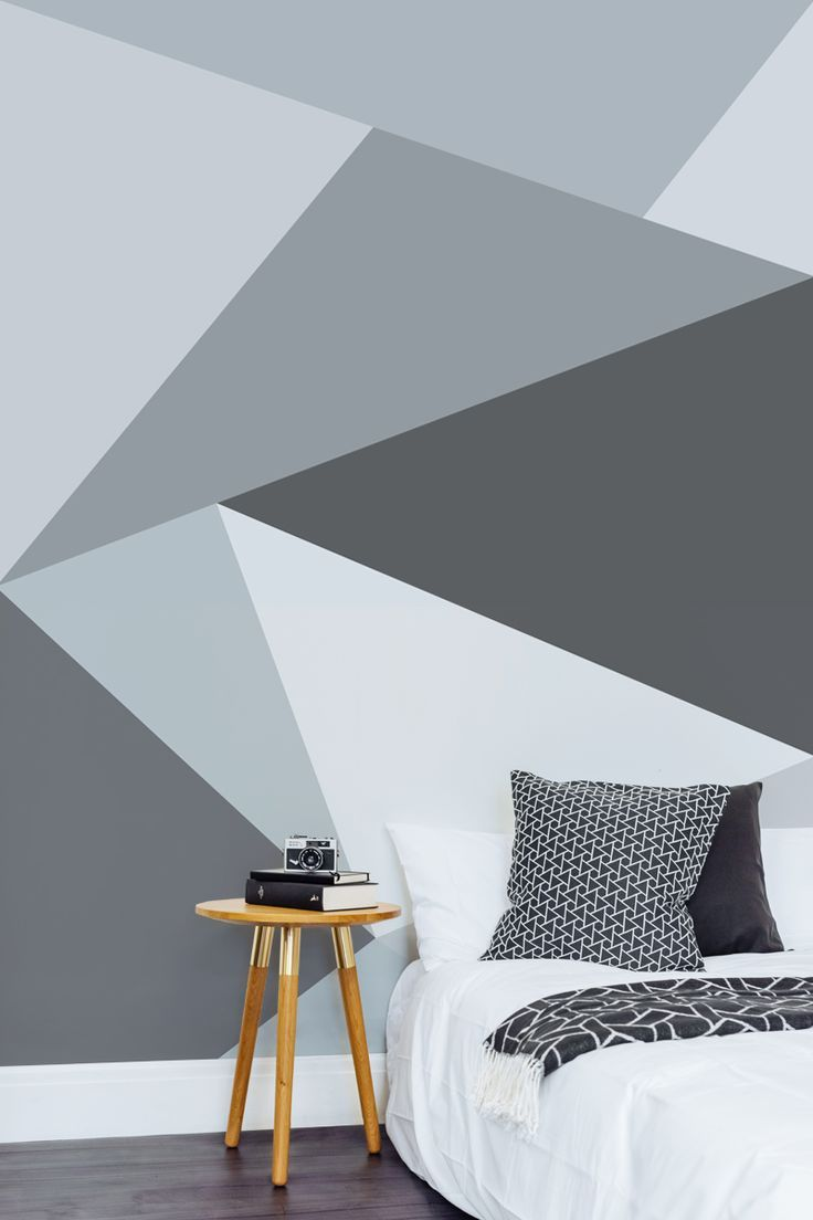 Charming Convex Wall Mural A Modern Twist On A Monochrome Themed Bedroom. Create  Your Own Scandi Inspired Space With This Sleek Geometric Wallpaper Design. Idea