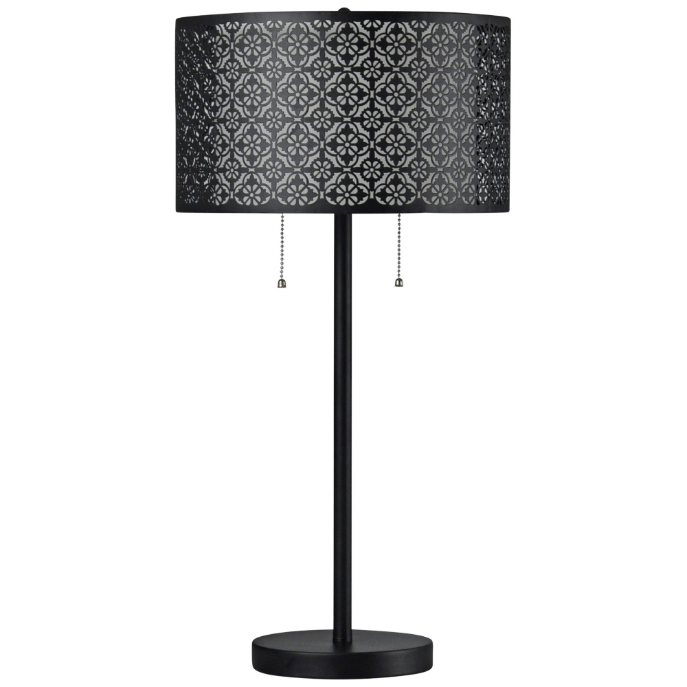 Echo Black Table Lamp With Patterned Black Styrene Shade Style 60w98 Table Lamp Black Table Lamps Lamp