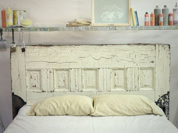 Queen sized reclaimed wooden door bed frame for the home - Cool queen bed frames ...