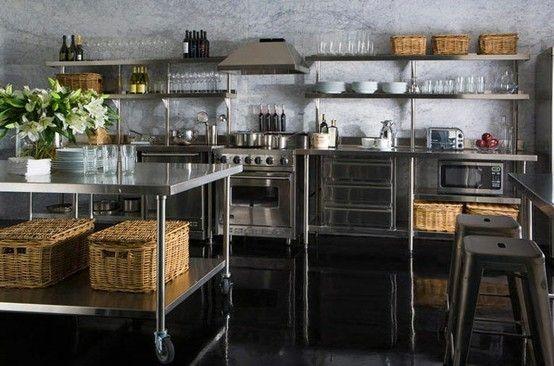 Love The Stainless Steel Island Kitchen Shelf Design Industrial Decor Kitchen Stainless Kitchen
