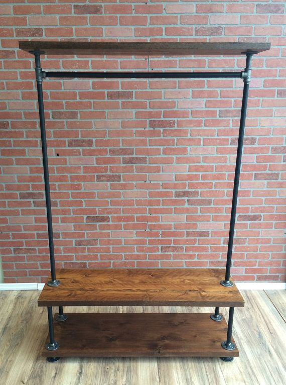 Industrial Pipe Clothing Rack With Cedar Wood Shelving By