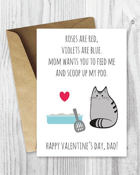 Printable Valentine Card Him For Dad Funny Cat Valentines Day Cards Dads Digital
