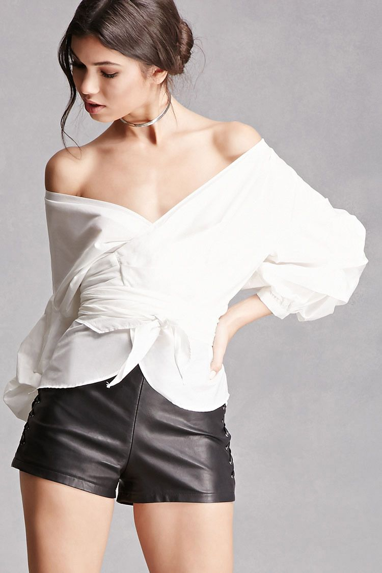 b046fd112e77c Forever21 · A woven top featuring a wrap-front with self-tie straps at  waist