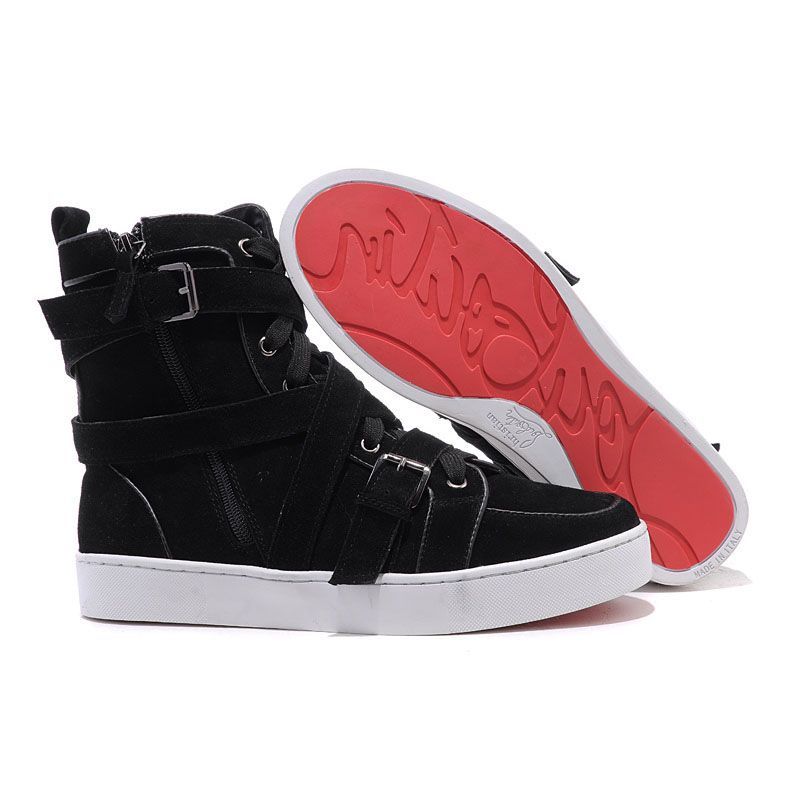 Personality Christian Louboutin Spacer Flat High Top Womens Sneakers Black  Suede