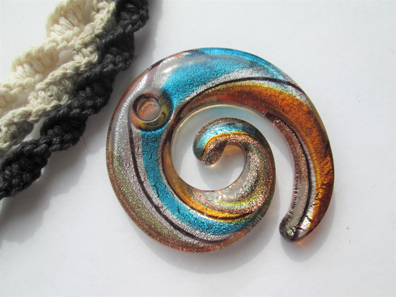 Handmade Black Hemp Necklace With Hand Blown Glass Blue Mushroom