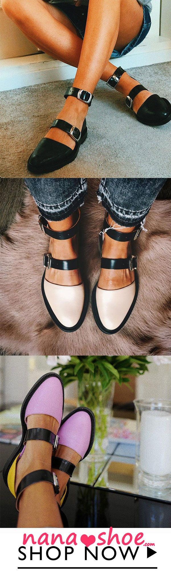 Fashion Trends Low Heel Color block Buckle Flats #2019fashiontrends