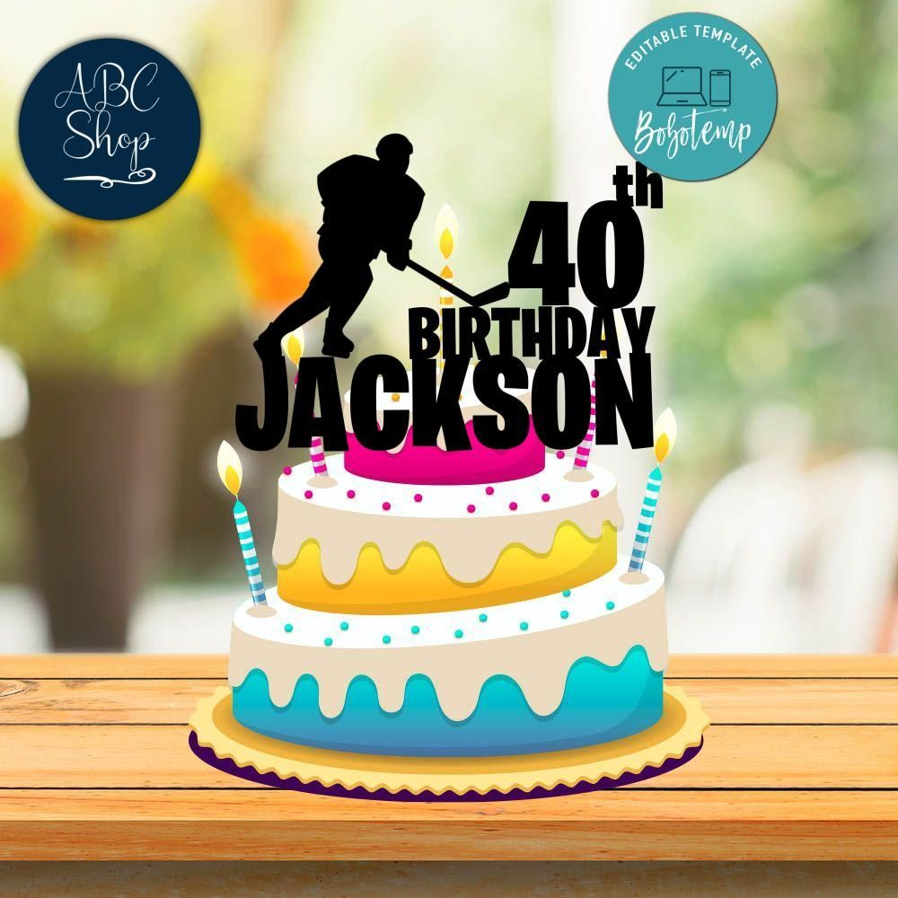 Printable Hockey Birthday Cake Topper Template Instant Download In 2020 Cowboy Birthday Cakes Hockey Birthday Cake Birthday Cake Toppers