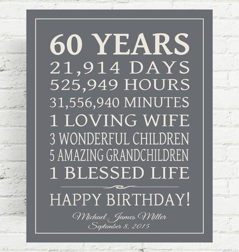 60th BIRTHDAY GIFT Sign Dad Birthday Gift Mom By PrintsbyChristine