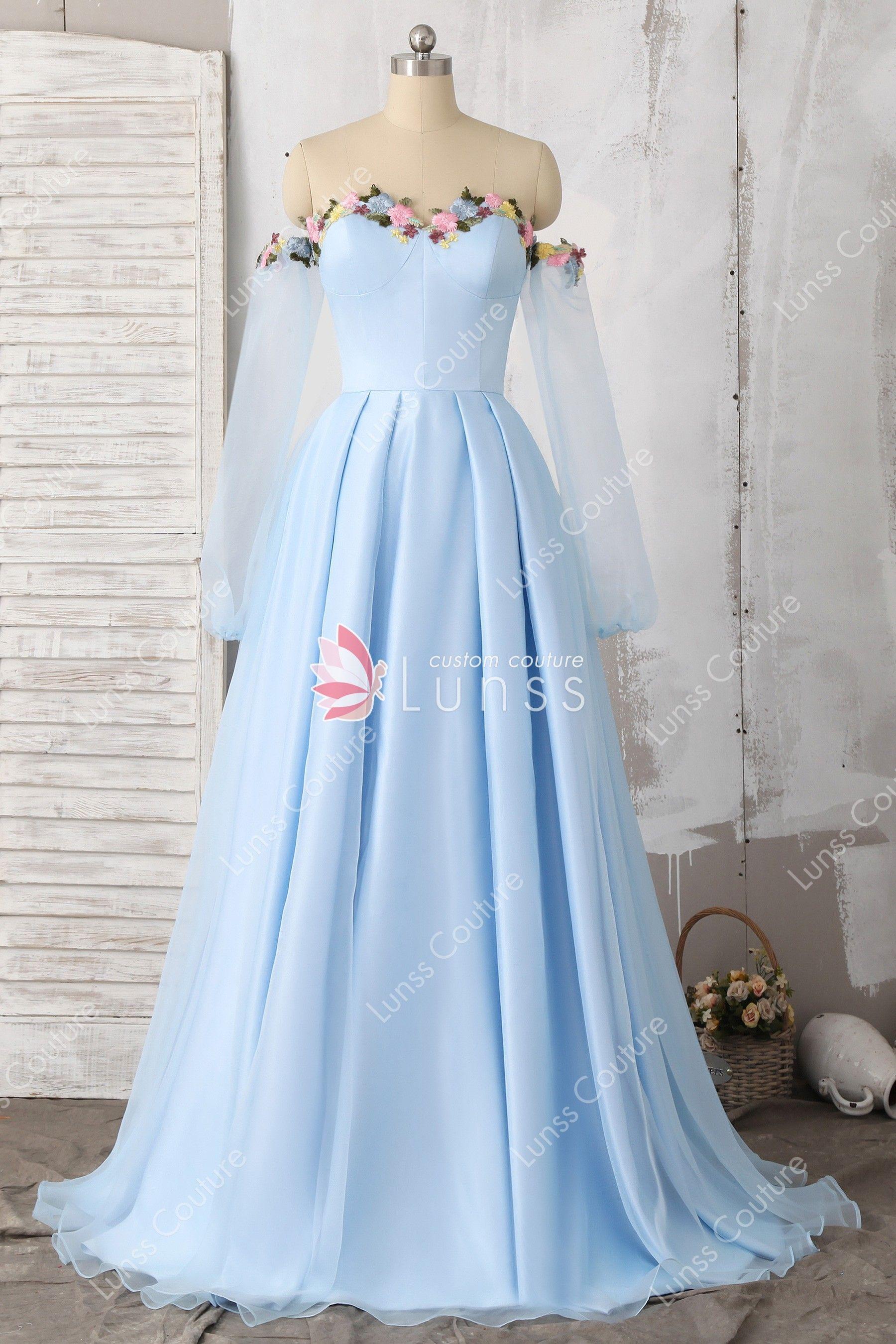 Off Shoulder Sky Blue Sweetheart A Line Prom Dress Sweetheart Neckline Prom Dresses Diy Prom Dress Floral Prom Dresses [ 2700 x 1800 Pixel ]