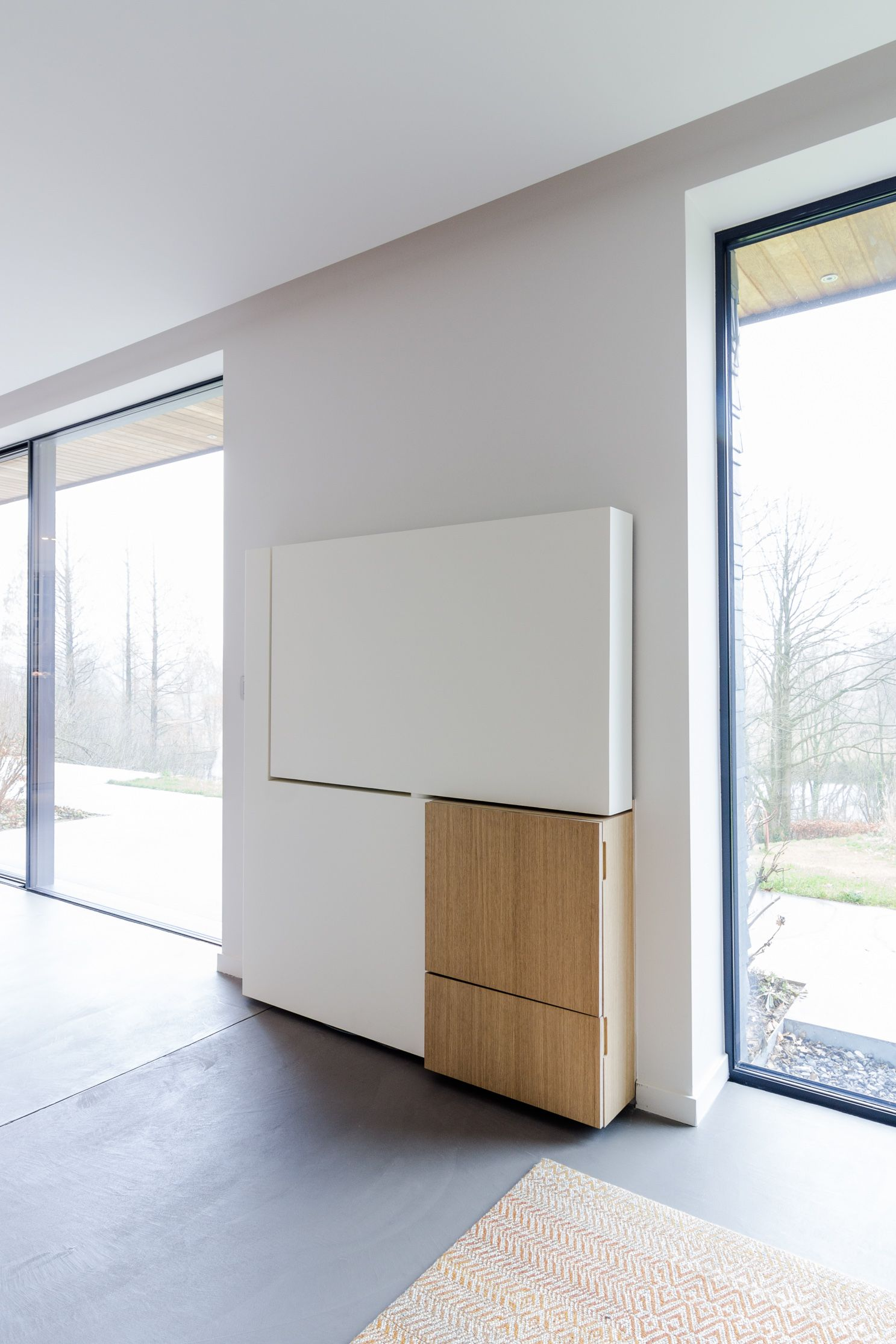 Meuble Tv Pivotant En Acier Et Bois Pivoting Tv Set Made Of Steel  # Made Com Meuble Tv