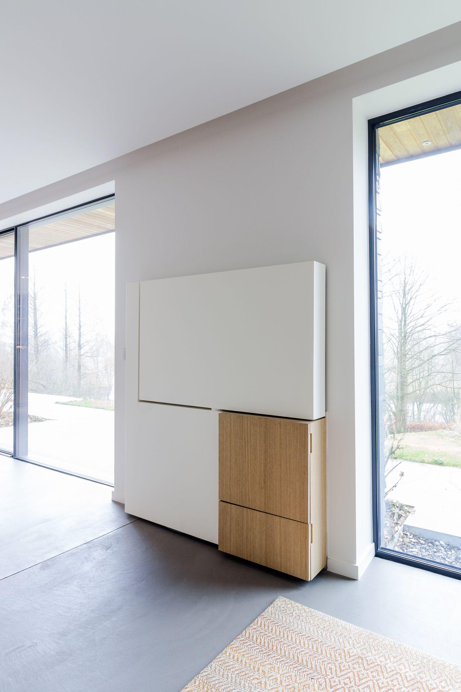 meuble tv pivotant en acier et bois