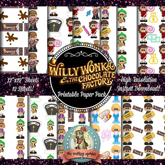 Willy Wonka And The Chocolate Factory Digital Paper Golden Willy   Printable  Ticket Paper  Printable Ticket Paper