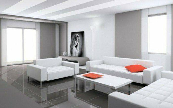 Salon Gris Blanc Meubles Cuir Blanc Sol En Dalles Faience Couleur De Peinture  Pour Salon En