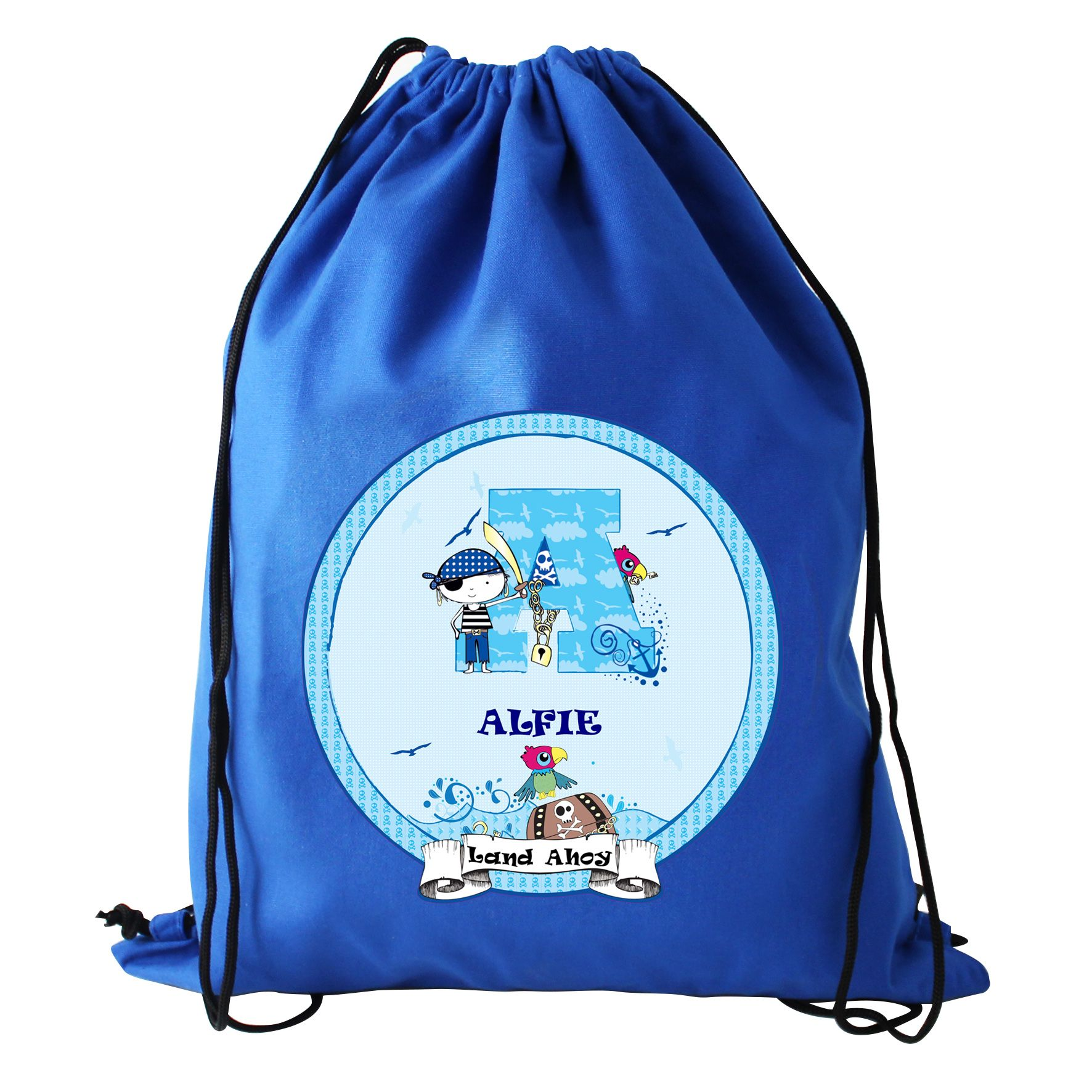 PERSONALISED pirate red pe sport swimming BAG drawstring boot bags