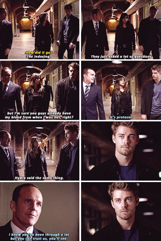 """""""Hydra said the same thing"""" - Skye, Lincoln and Coulson #AgentsOfSHIELD"""