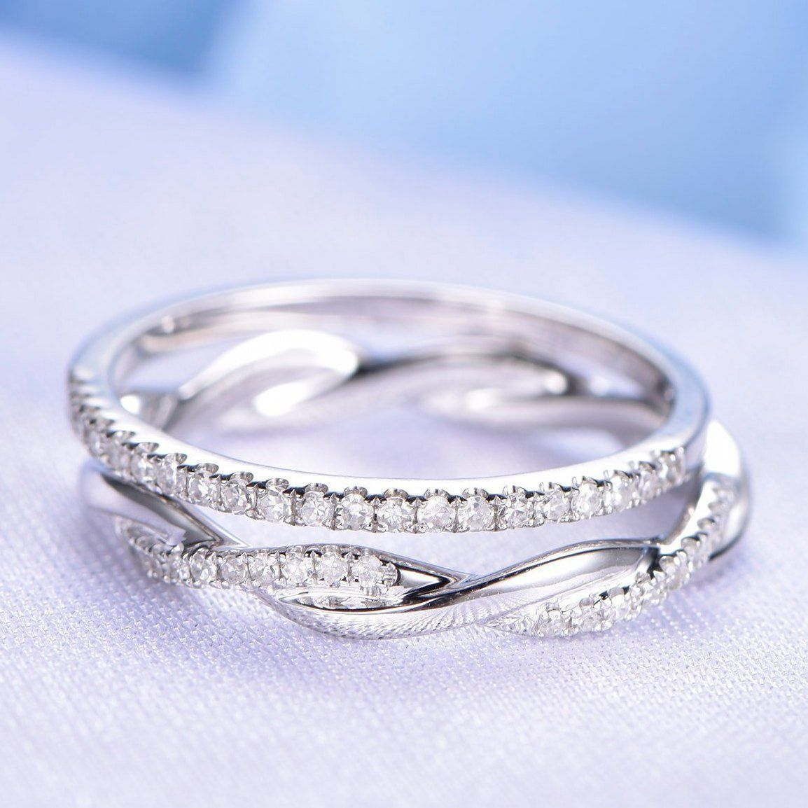 Wedding Ring Set Half Eternity Diamond Wedding Band