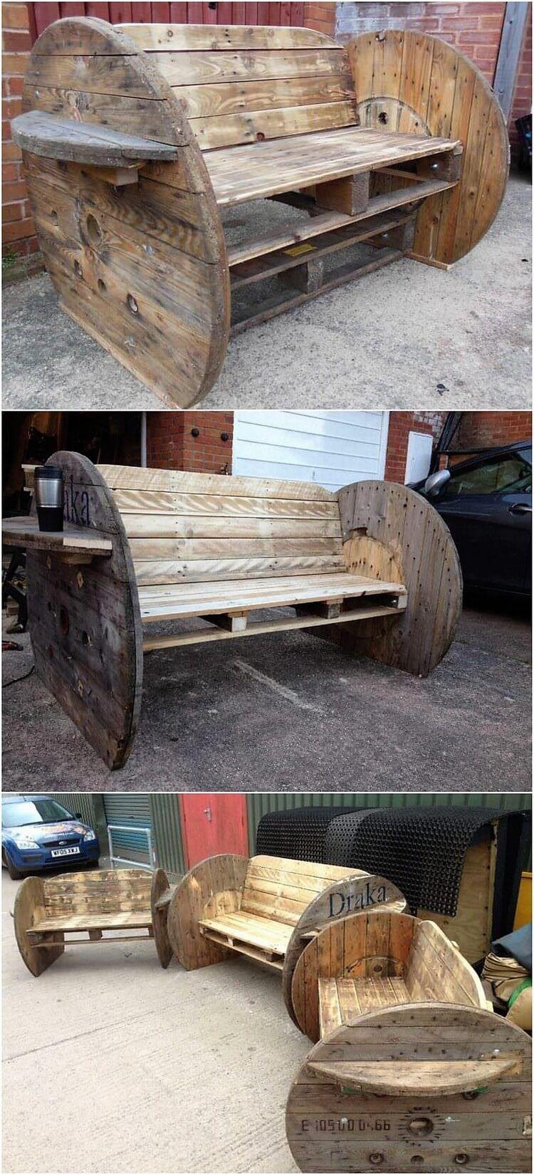 Useable Wood Pallets Recycling Ideas | Kabeltrommel, Bänke und ...