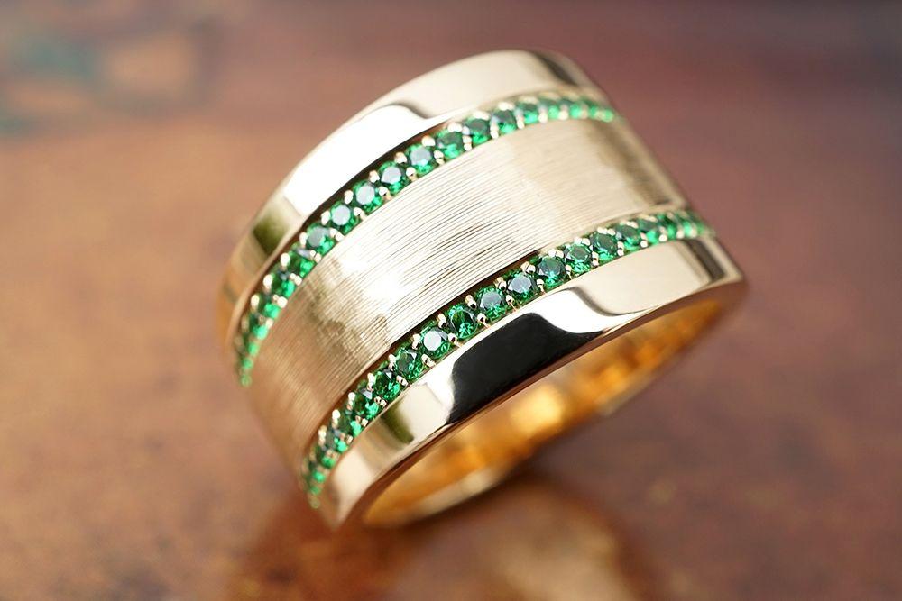 le luxe les bijoux bande or argenté des cristaux les hommes ring pierre