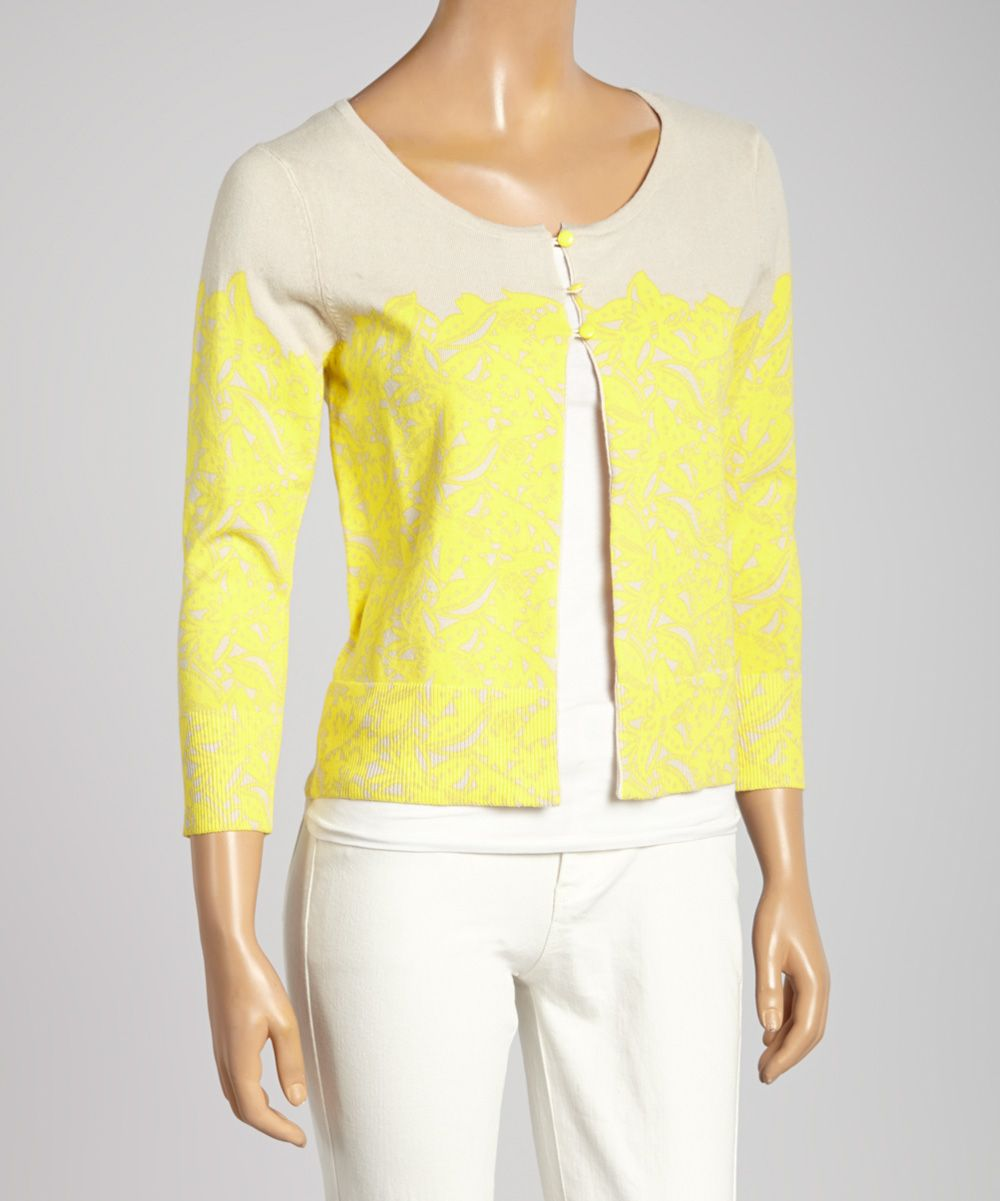 Yellow & Sand Floral Cardigan | Office Attire | Pinterest | Office ...