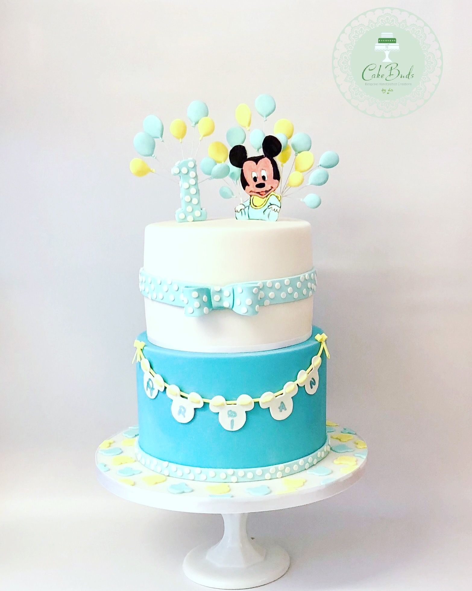 Marvelous A Mickey Mouse Blue And Yellow Themed First Birthday Cake Baby Funny Birthday Cards Online Elaedamsfinfo