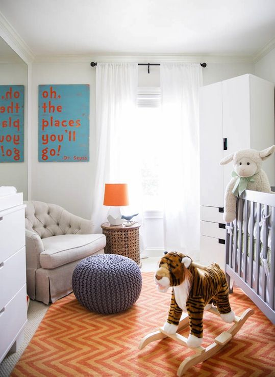 Amazing Boy S Nursery Design With Gray Crib On Orange Chevron Rug